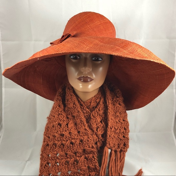 a66ec75b39d75 Accessories - Oversized large brimmed rust colored straw hat
